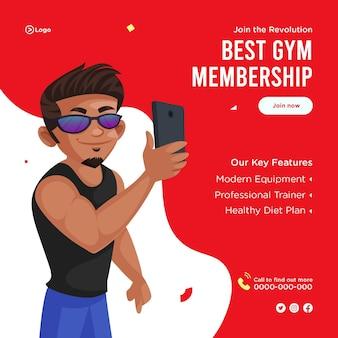 Diseño de banner del mejor estilo de dibujos animados de membresía de gimnasio
