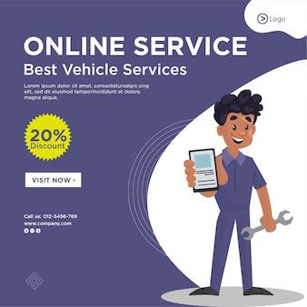 Diseño de banner de la mejor plantilla de servicios de vehículos de servicio en línea