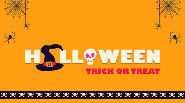 Diseño de banner minimalista y tipográfico de halloween con elementos decorativos de fiesta de miedo