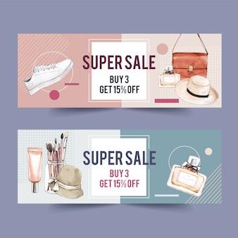 Diseño de banner de moda con accesorios y cosméticos.