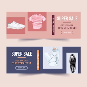 Diseño de banner de moda con camiseta, jeans, calcetines, zapatillas de deporte.