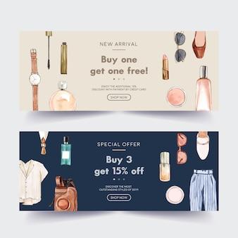 Diseño de banner de moda con cosméticos, atuendos, accesorios.