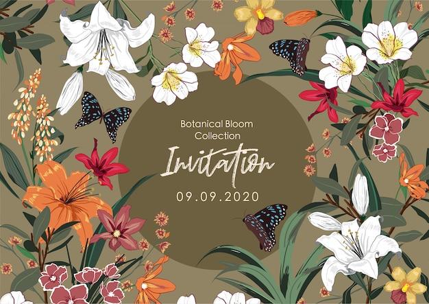 Diseño de banner con muchos tipos de flores de jardín.