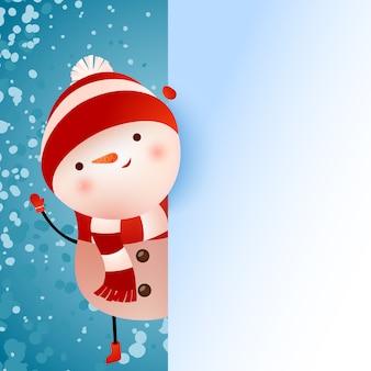 Diseño de banner con muñeco de nieve y copos de nieve.