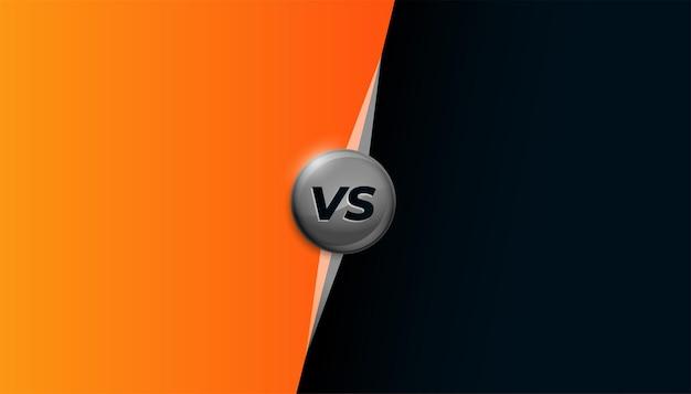 Diseño de banner naranja y negro versus vs