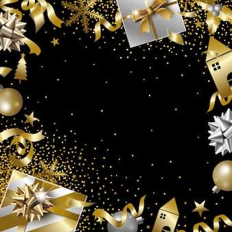 Diseño de banner de navidad y año nuevo con espacio de copia.