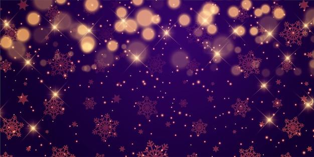 Diseño de banner navideño con estrellas y luces bokeh.