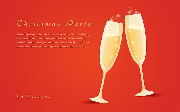 Diseño de banner navideño para fiesta de champán.