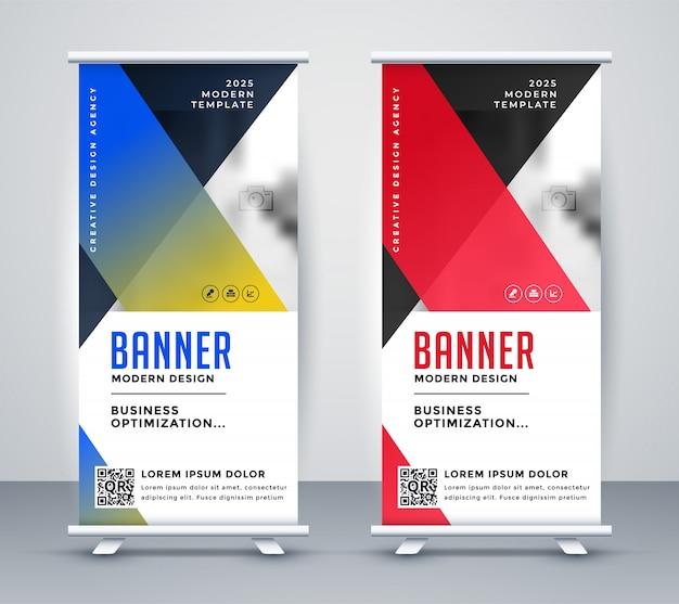 Diseño de banner de negocio moderno rollup geométrico