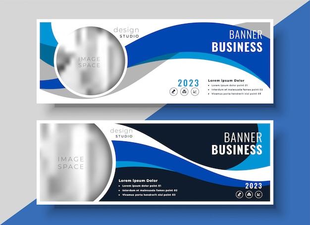 Diseño de banner de negocio ondulado azul abstracto