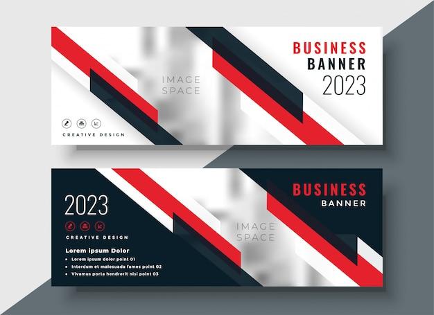 Diseño de banner de negocios corporativos tema rojo