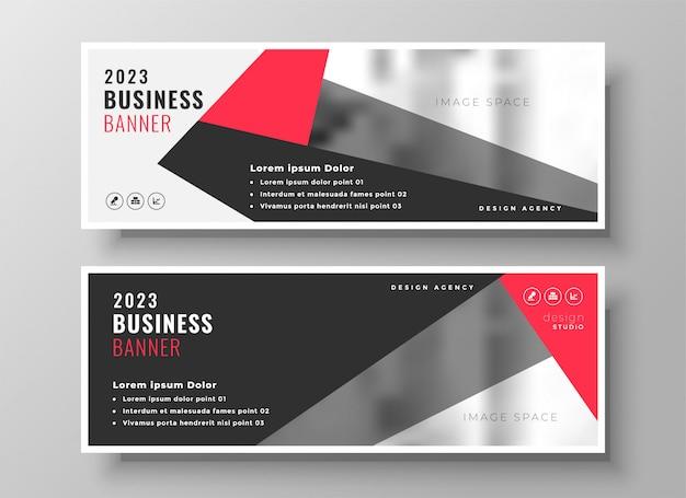 Diseño de banner de negocios geométrico rojo elegante