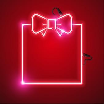 Diseño de banner de neón caja de regalo.