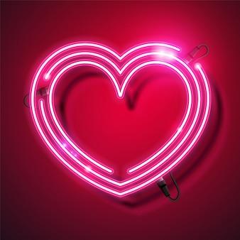 Diseño de banner de neón de corazón