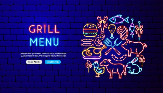 Diseño de banner de neón de menú de parrilla. ilustración de vector de promoción de barbacoa.