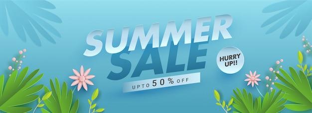 Diseño de banner o encabezado de venta de verano