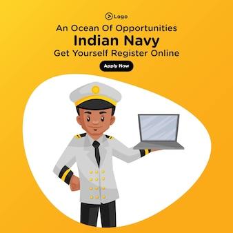 Diseño de banner de un océano de oportunidades de la marina india en estilo de dibujos animados