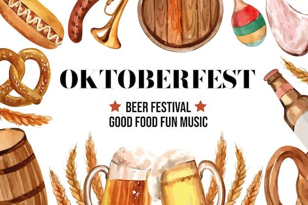 Diseño de banner de oktoberfest con cerveza, salchichas, pretzel y entretenimiento.