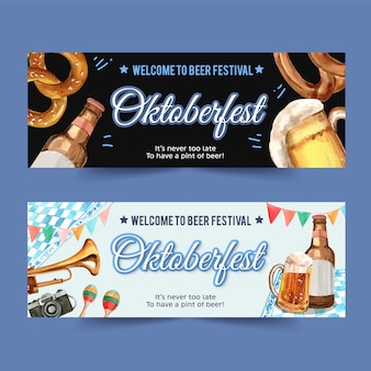 Diseño de banner de oktoberfest con pretzel, cerveza, instrumentos musicales.