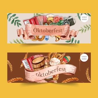 Diseño de banner de oktoberfest con pretzel, cerveza