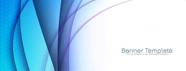 Diseño de banner de onda azul decorativo abstracto