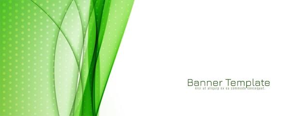 Diseño de banner de onda verde con estilo abstracto