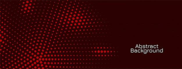 Diseño de banner oscuro de patrón de semitono rojo