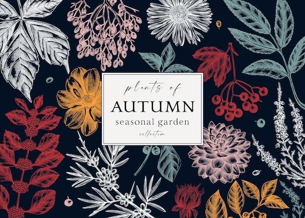 Diseño de banner de otoño coloreado a la moda plantilla botánica elegante con hojas de otoño bayas