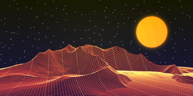 Diseño de banner de paisaje de estructura metálica