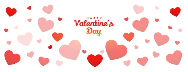 Diseño de banner de patrón de corazones de feliz día de san valentín