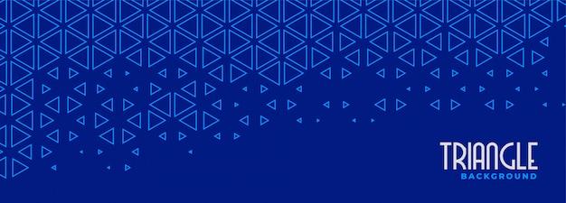 Diseño de banner de patrón de línea de triángulo azul abstracto