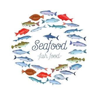 Diseño de banner de pescado con besugo, caballa, atún o esterlina, bagre, bacalao y fletán. icono de dibujos animados de tilapia, perca, sardina, anchoa, tiburón, lubina y dorado.