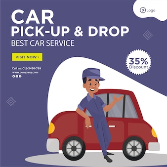 Diseño de banner de pick up and drop best car service template