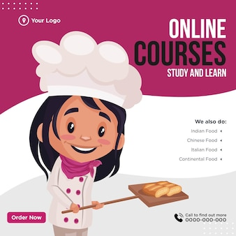Diseño de banner de plantilla de estilo de dibujos animados de cursos en línea