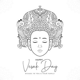 Diseño de banner de plantilla de estilo de dibujos animados del día de vesak