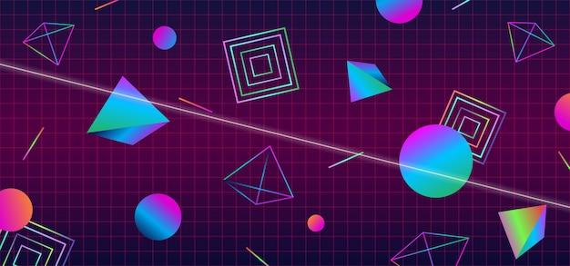 Diseño de banner de portada abstracta de estilo futurista retro de los años 80