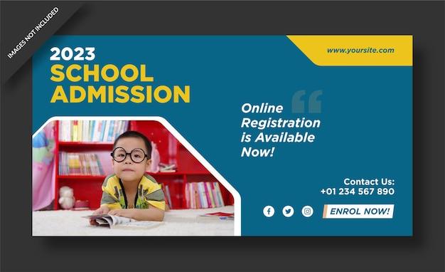 Diseño de banner del programa de admisión escolar.