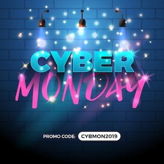 Diseño de banner de promoción de venta de lunes cibernético.