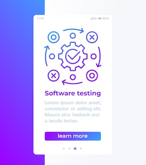 Diseño de banner de pruebas de software con icono de línea