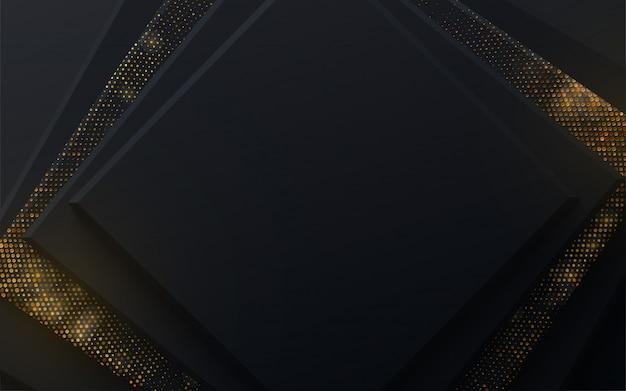 Diseño de banner publicitario. fondo abstracto con cuadrados negros y patrón de brillo brillante.