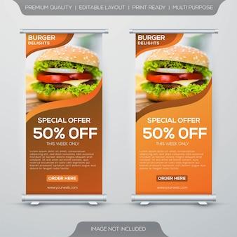 Diseño de banner de puesto de comida de hamburguesas