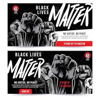 Diseño de banner de puño levantado de black lives matter