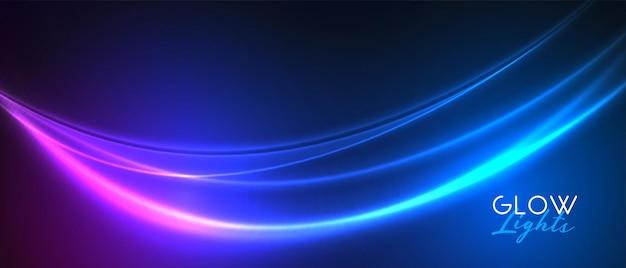 Diseño de banner de racha de luz de neón de onda