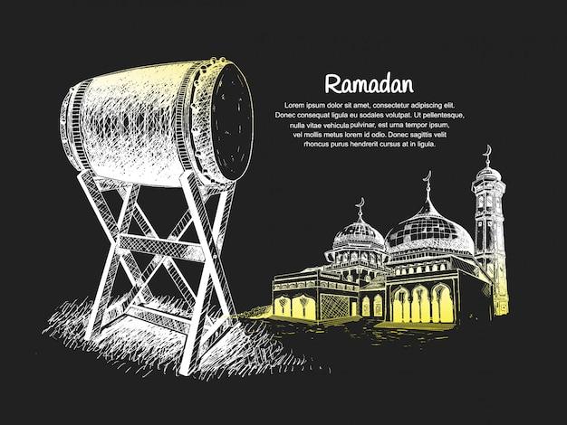 Diseño de banner de ramadán con bedug y mezquita en la ilustración de la noche