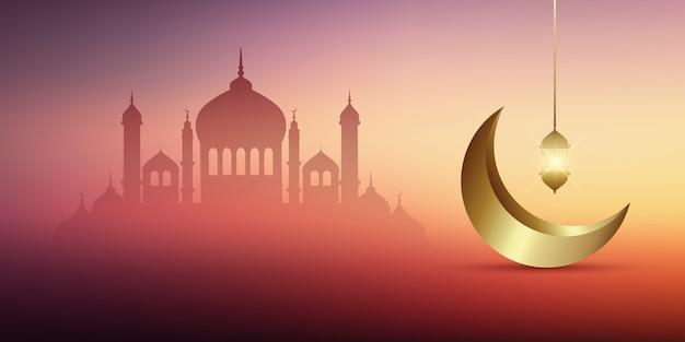 Diseño de banner de ramadán kareem con mezquitas y media luna dorada