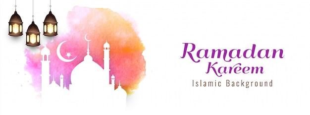 Diseño de banner de ramadan kareem religioso abstracto