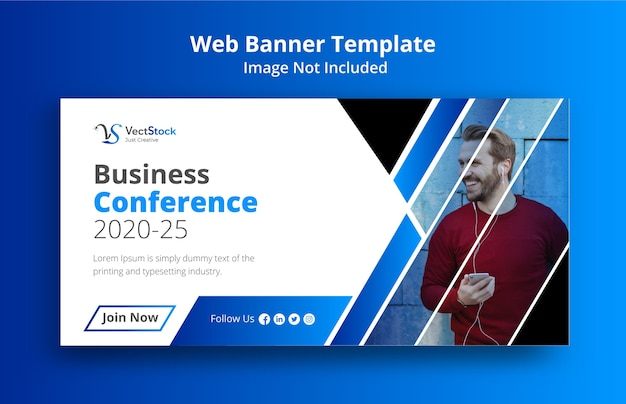 Diseño de banner de redes sociales para conferencia de negocios.