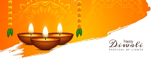 Diseño de banner religioso feliz festival de diwali