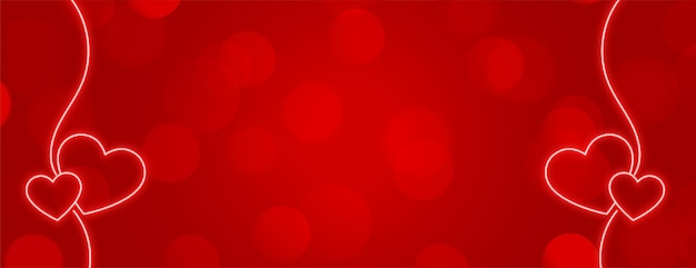 Diseño de banner rojo con decoración de corazones de neón.