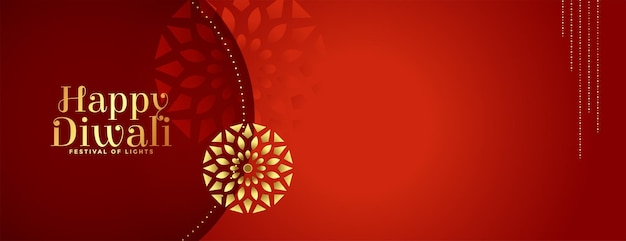 Diseño de banner rojo decorativo premium feliz diwali